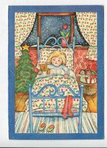 429412 ESTONIA New X-mas Tree girl teddy bear 1995 RPPC Kuma advertising label