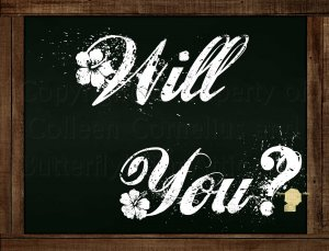 Set of 6  Postcards Blackboard Greetings - Will You?  Simple Expression