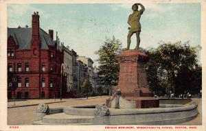 Ericson Monument, Mass. Ave., Boston, Massachusetts, Early Postcard, Used
