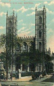Postcard Canada eglise de notre dame montreal church towers architecture street