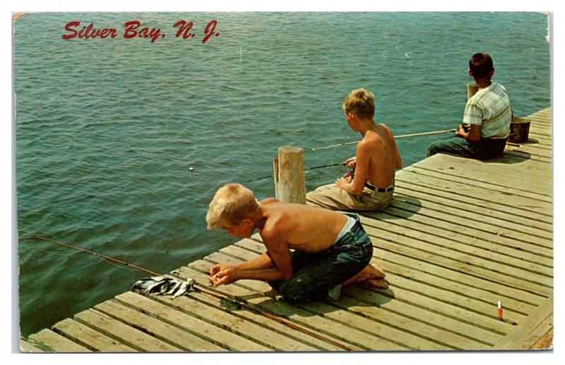 1959 Boys Fishing on Silver Bay, NJ Postcard