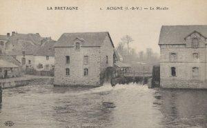 La Bretagne Acigne Le Moulin River French Old Postcard
