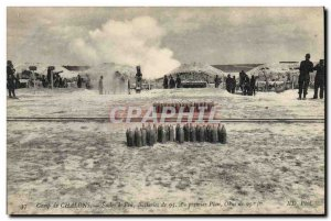 Old Postcard Army Camp Chalons Schools has fire Batteries 95 In the first Obu...