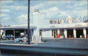 Lewiston ME Puritan Chevy Chevrolet car Dealership 1950s Postcard