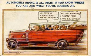 Comic - Automobile Riding...    *Artist Signed: D. Tempest