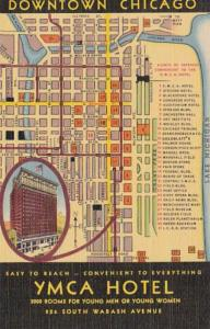 Illinois Chicago Y M C A Hotel and Map Of Downtown Curteich