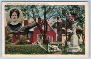 Postcard PA Gettysburg Battlefield Jennie Wade House & Monument c1920s K18