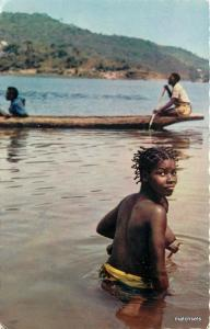 1960s Topless Nude Africa Canoe Young Bathing girl postcard 6477