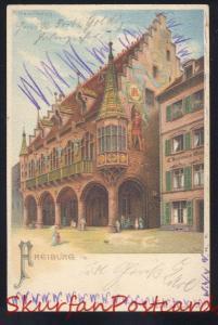 FREIBURG I.A. GERMANY 1901 DOWNTOWN STREET SCENE ANTIQUE VINTAGE POSTCARD