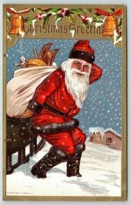 Christmas~Santa Hoists Bag from Sleigh~Black Fur Trim Suit~Gold Border~Conwell