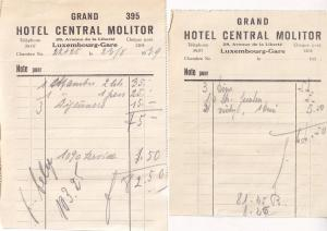 Hotel Central Molitor Luxembourg Station Gare WW2 1939 2x Receipt s