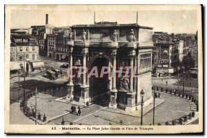 Old Postcard Marseille The Guesde Place and the Arc de Triomphe