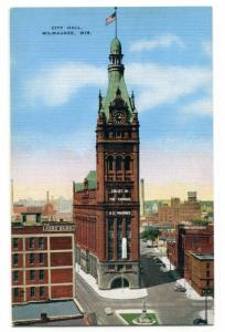 City Hall Milwaukee Wisconsin linen postcard