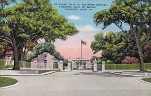 Mississippi Gulfport Entrance To U S Veterans Hospital Fronting Gulf Of Mexico