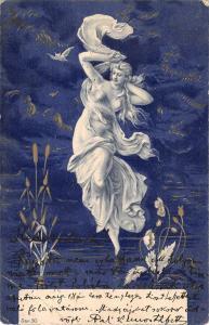 us535 greetings art nouveau woman women