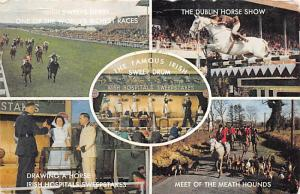 Irish Sweep Drum Horse Racing Postcard 1968 Missing Stamp