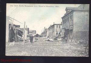 HAMILTON OHIO FLOOD DISASTER DOWNTOWN CITY HALL STREET SCENE 1913 POSTCARD