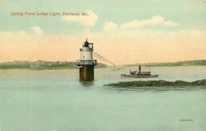 Portland Maine Spring Point Ledge Light Postcard Valentine Souvenir 4417