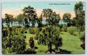 Sanford Florida~Lake Monroe From Grassy Shore~Palm Trees~Spanish Moss~c1910