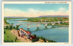 LITTLE ROCK, AR Arkansas   BROADWAY  BRIDGE   c1940s  Linen  Postcard