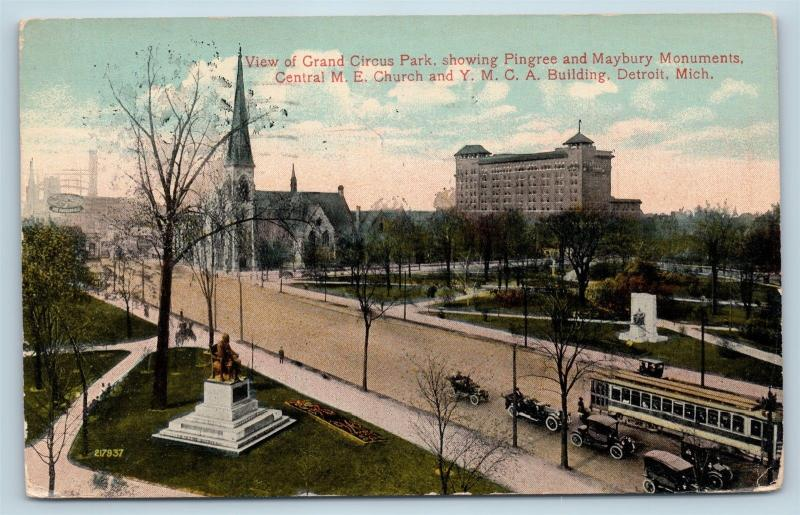 Postcard MI Detroit Grand Circus Park Pingree Maybury Monuments YMCA 1914 G26