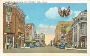 Windsor Ontario~Oulette Avenue South~Dowler's Clothes~Drug Store~1940s