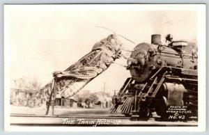 Train Hold Up in Gothenburg Nebraska cancel~Exaggerated Grasshopper~1938 RPPC