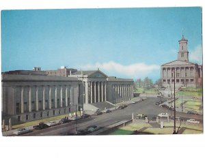 State Capitol & War Memorial Nashville Tennessee 1950s cars in Front