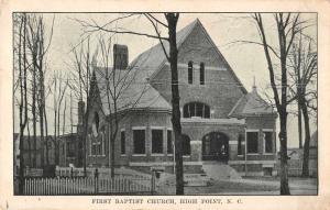 High Point North Carolina First Baptist Church Antique Postcard J59523