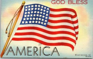 GOD BLESS AMERICA Patriotic Greetings Postcard U.S. Flag Linen WWII 1944 Cancel