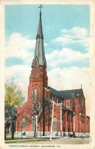 Galesburg Ilinois~Steeple and Cross~Corpus Christi Church~1920s Postcard