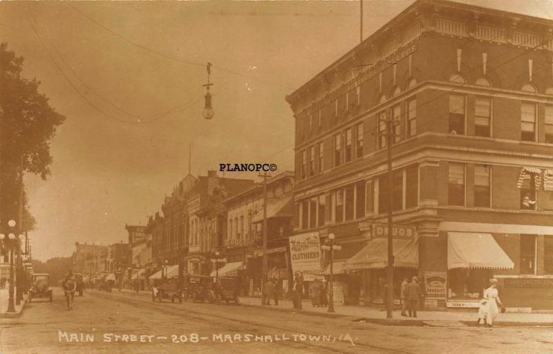 MARSHALLTOWN, IOWA MAIN STREET-EARLY 1900'S RPPC REAL PHOTO POSTCARD