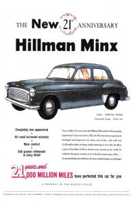 Postcard The New 21st Anniversary Hillman Minx 1952 Repro Advertisement N94