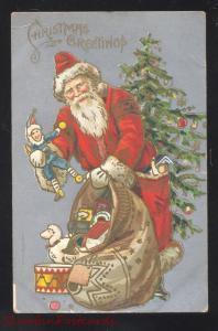 CHRISTMAS GREETINGS LARGE SANTA CLAUS TOYS RED ROBE VINTAGE