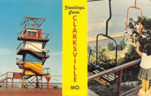 Clarksville Missouri~Banner Greeting~Lookout Point Tower~Skylift~1964 Postcard