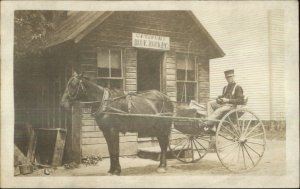 Blue Rock OH Gaysport Post Office Horse Delivery Wagon Mailman c1910 RPPC