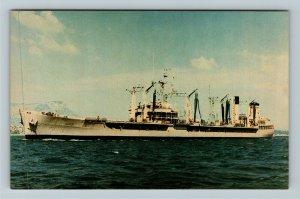 USNS Pawcatuck T-AO 108 Chrome Postcard
