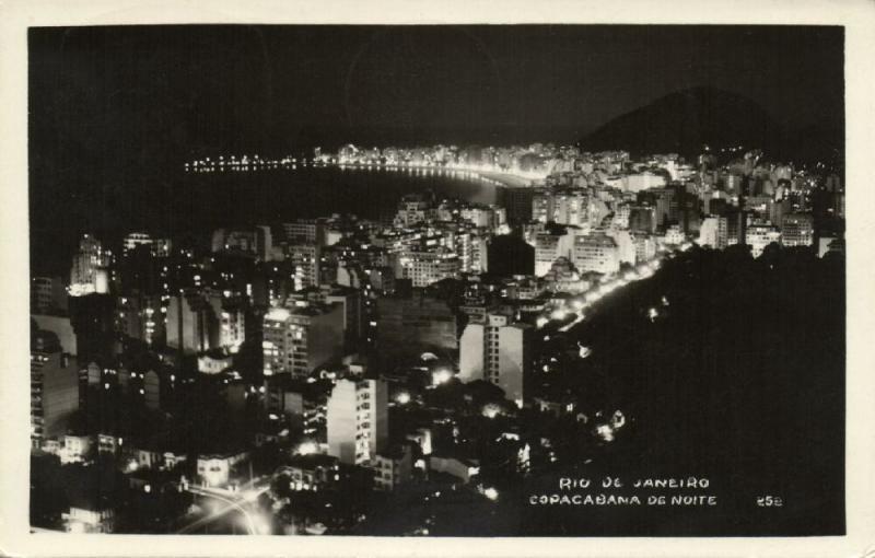 brazil, RIO DE JANEIRO, Copacabana de Noite (1949) RPPC Red Cancel