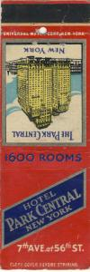 Early New York, NY Matchcover, Hotel Park Central