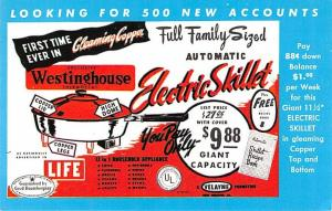 Houseware Advertising Old Vintage Antique Post Card Electric Skillet Unused