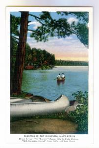 Canoeing in the Minnesota Lakes Region, unused Kropp Rock Island linen Postcard