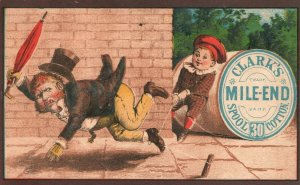 1880's Clark's Spool Cotton Mile-End Young Boy Tripping Man Walking Six Color