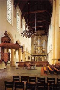 Netherlands Delft Oude Kerk Interieur met Orgel en Preekstoel Church Interior