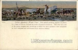 Indians Attacking Wagon Train Painting
