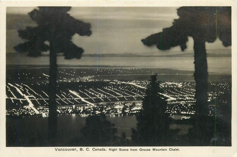 Vancouver, B. C. Canada Night scene from Grouse Mountain Chalet photo postcard