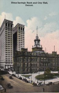 DETROIT, Michigan, PU-1914; Dime Savings Bank And City Hall