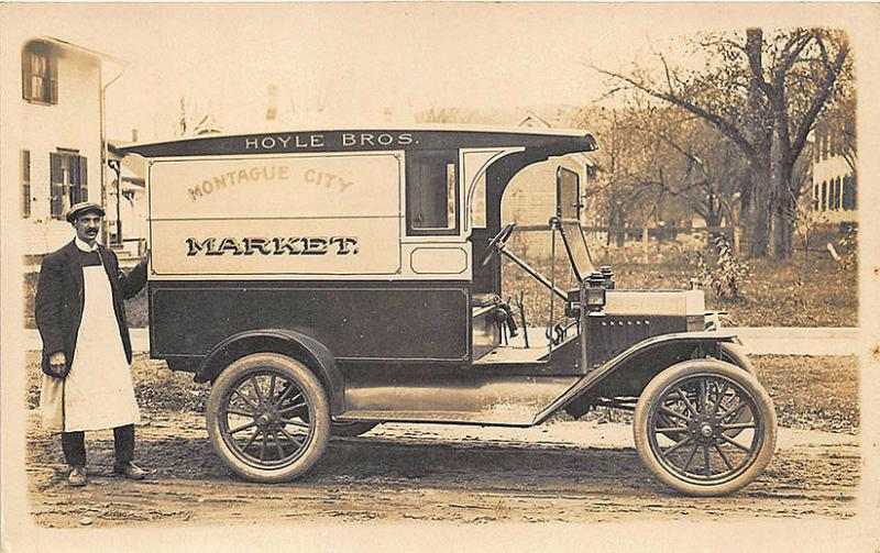 Montague MA Hoyle Bros. Market Delivery Truck RPPC Postcard