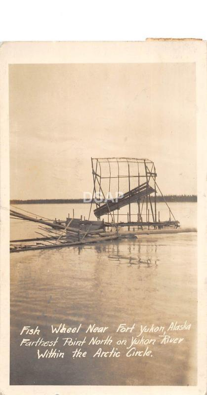 B92/ Fort Yukon Alaska AK RPPC Postcard 1950 Fish Wheel Railroad Engineer Stamp