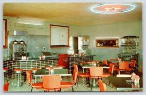Aspermont TX~Frazier's Cafe Interior~ART DECO Fountain~Chrome Red Black~1961 Adv