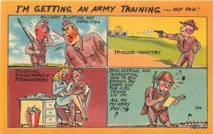 1940s Military WW2 Comic Multi View Colorpicture postcard 5177